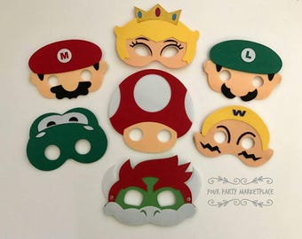 SET OF 7 Super Mario Brothers Party Masks,Super Mario Bros Party Favors,Super Mario Brother Birthday,Super Mario Brothers Party,Super Mario