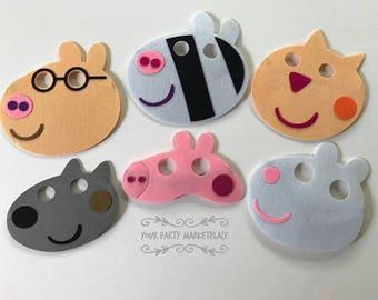 SET OF 6 Peppa Pig Masks, Peppa Pig Birthday, Peppa Pig Party Favors, Peppa Pig Decorations, Peppa Pig Party, Peppa Pig, Peppa Pig Banner