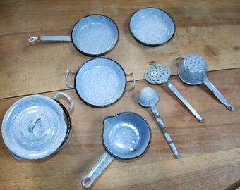 Old doll enameled metal ware