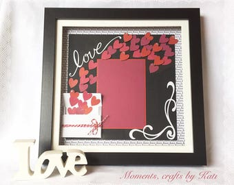 Box frame with love hearts design and blank mat for your photo