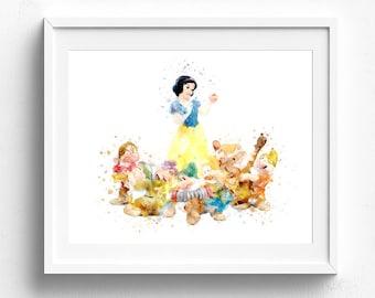Children bedroom art, snow white 7 dwarfs, disney wall art, snow white clip art, disney art print, seven dwarfs picture, disney princess art