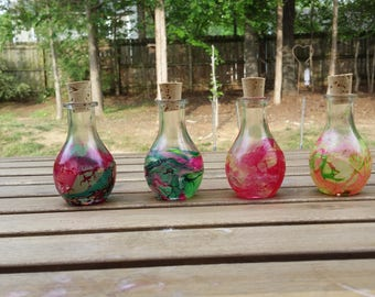 Hand dipped painted potion bottles with corks set of 4