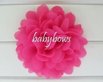 2 Fuchsia Pink Big Flower Baby Girl Flower Hair Clips 1 Pair