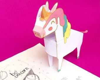 DIY Unicorn papercraft printable download / DIY party decorations & kids toys