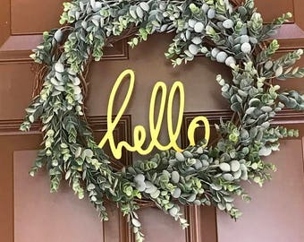 Farmhouse Wreath - Hello Greenery Wreath - Farmhouse Style Wreath - Boxwood Wreath - Faux Boxwood Wreath - Front Door Wreaths