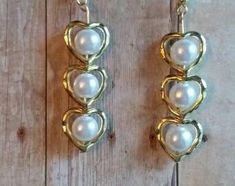 Golden Heart pearl French hook earrings