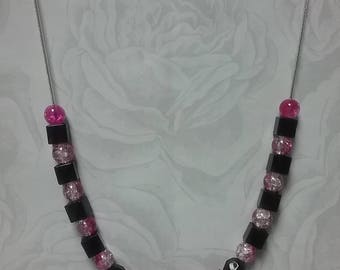 Pink and black bead necklace