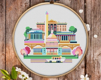 Modern Cross Stitch Pattern of Washington DC for Instant Download - 083| Easy Cross Stitch|Counted Cross Stitch|Embroidery Design