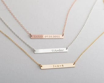 Name Necklace Rose Gold bar necklace Bar Necklace Letter Necklace Initial Necklace Christmas Gift for women