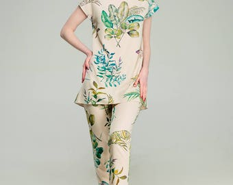 "Women's suit with watercolor print - ""Marrakech"" - Tropical collection - Watercolor clothes - Female suit - Summer wear"