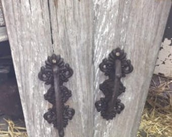 Beautiful Wall Hanger made with 100 year old Chippy White Barnwood and cast iron handle
