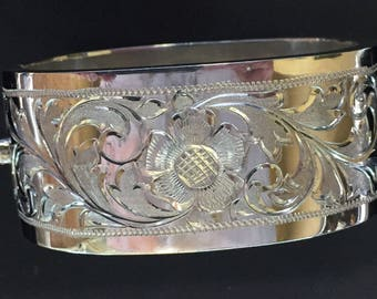 Sterling Silver Wide Hinged Bracelet
