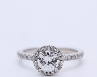 Platinum or 18K Gold Diamond Halo Ring