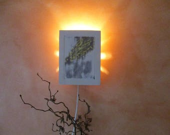Modern, classical Wall lamp, Wall lamp from ceramic, clay with great lighting, painted with yellow and grey Engobed