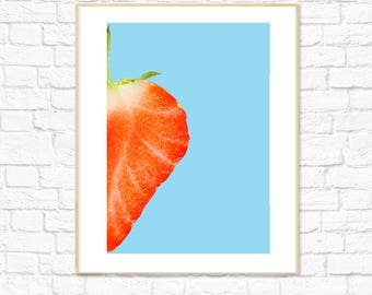 Strawberry Print, Food Art, Fruit Print, Photography, Kitchen Dining Room Decor, Colorful Minimalist Printable Wall Art, Instant Download