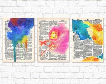 Watercolor Print Set, Watercolor Painting, Dictionary Illustration, Colorful Minimalist Printable Wall Art, Instant Download, Digital Art