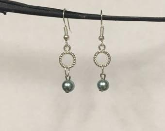 Pretty Teal Pearl Drop Earrings