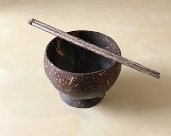 Set of handmade bowl & Chopsticks made of coconut shell
