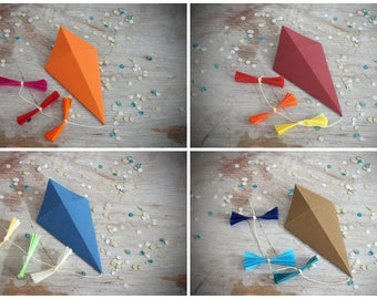 Paper kites as gift decoration, set of 4, orange, burgundy, brown and dark blue