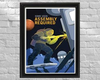 NASA Promotional Poster | Some Assembly Required | Retro Space Travel Poster | Exoplanet Art
