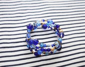 Blue Beaded Memory Wire Bracelet