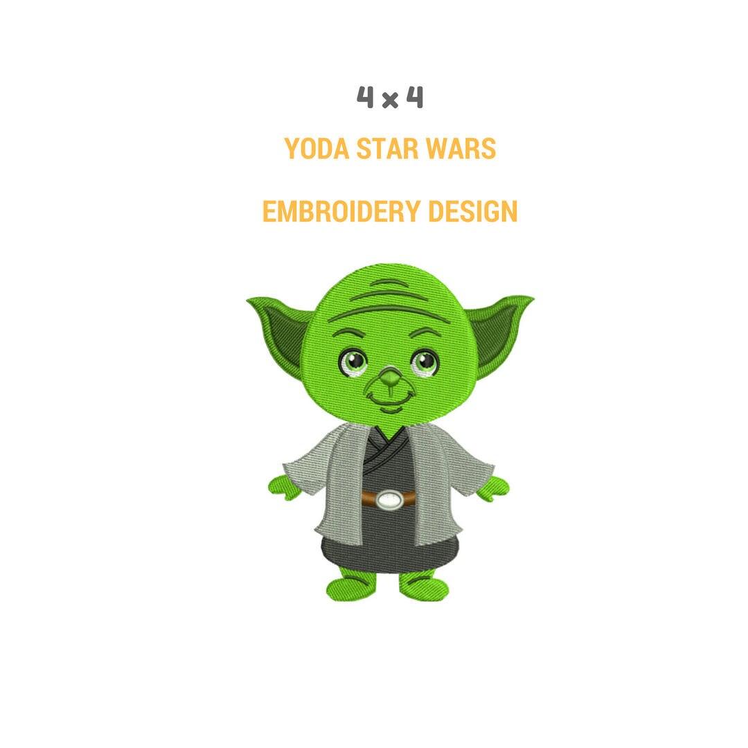 Yoda Character Design : Yoda embroidery design machine star