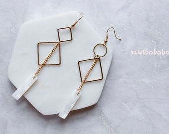White Shell Earrings,  rhombus earrings, silver Earrings