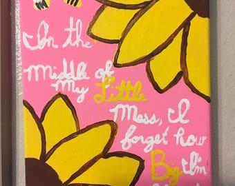 Pink sunflower canvas art