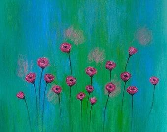 Original abstract painting, abstract art, handmade abstract painting, flowers, roses, painting