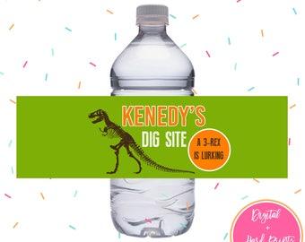 Dinosaur Party Water Bottle Labels DIGITAL or HARD PRINT