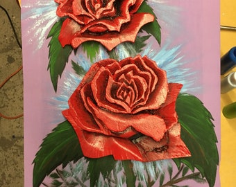 3D Rose Canvas Painting