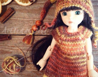 Knitted suit, made in yarn in melange color for tihy BJD dolls. Fits 26cm Littlefee of other similar dolls.