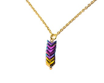 Gold-plated chain arrows | Oil slick Rainbow
