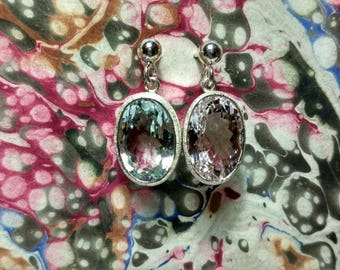 Silver earrings with aquamarine and morganite.