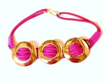 Vintage Pink Rope Belt - 1980's Belt - Rope Belt - gold disc belt - Ladie's Vintage Belt - Pink Belt - Summer Belt - Ladie's Vintage