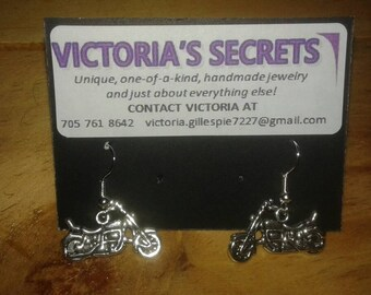 Motorcycle Earrings with Surgical Steel Earring Hooks