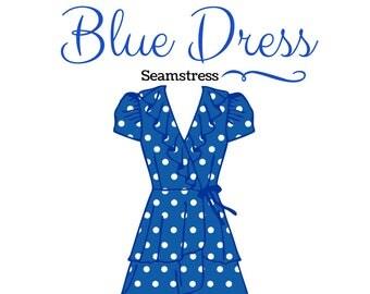 Premade Logo, Dress Logo, Business Branding, Business Logo, Seamstress Logo, Fashion Logo, Boutique Logo, Blue Polka Dot