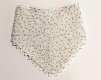 Green Dandelion Handemade Baby Bib/Drooling Bib