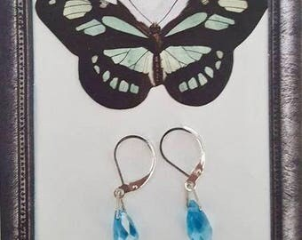 925 Sterling Silver Turquoise Austrian Crystal Briolette Drop Earrings