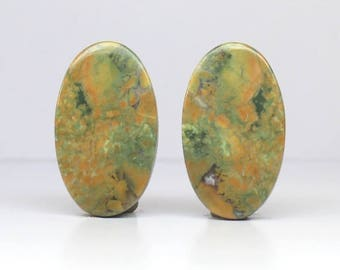 1 Pair, Approx 32Cts. 100%Natural Rayolite, Approx 16X28mm Oval Shape  Loose Gemstones Smooth Cabochon Gemstones Fine Polish Rayolite Loose