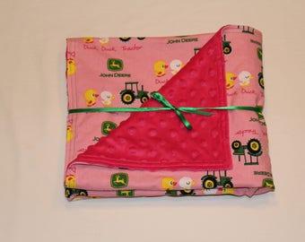 John Deere baby girl blanket, John Deere toddler blanket