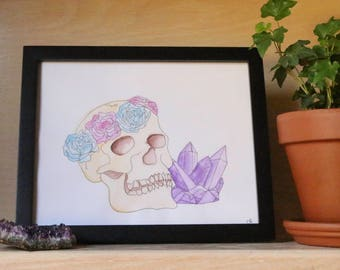Rose Crowned Skull and Amethyst