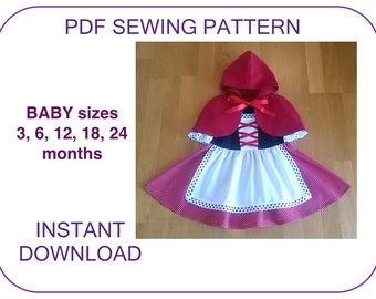 BABY toddler Little Red Riding Hood cape and dress pattern PDF Instant download. Dirndl and cape pattern Costume pattern for baby girls..