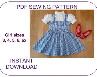 DOROTHY pdf sewing pattern tutorial. Wizard of Oz Dorothy dress pattern. Dorothy costume pattern Dorothy skirt pattern Halloween costume pdf