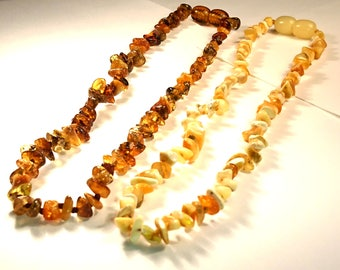 Natural Baltic Amber Children Necklace Baroque Flat Pieces Teething Safe