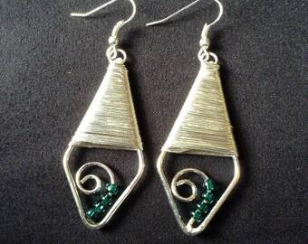 Silvertone Earrings with Blue Beads