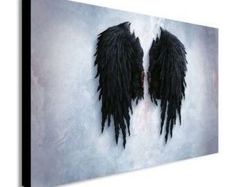 Banksy Black Angel Wings Canvas Wall Art Print - Various Sizes