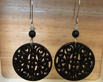 Long Silver Earring with Baroque pendant