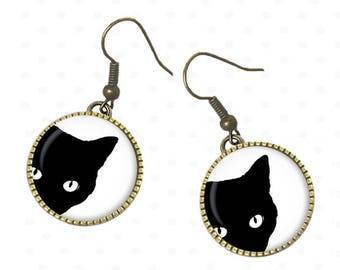 Black cats on cabochons earrings, cat, Kitty, mother's head. R32