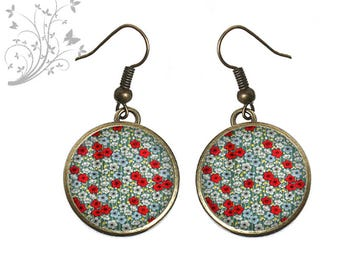 small earrings resin cabochon red liberty flowers